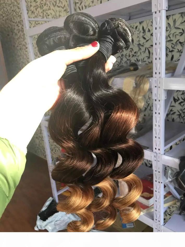 Gevşek Vücut Dalga Ombre Perulu Bakire İnsan Saç Dokuma Demetleri T1B 4 27 Üç Ton Kahverengi Bal Sarışın Kıvırcık Saç Uzantıları