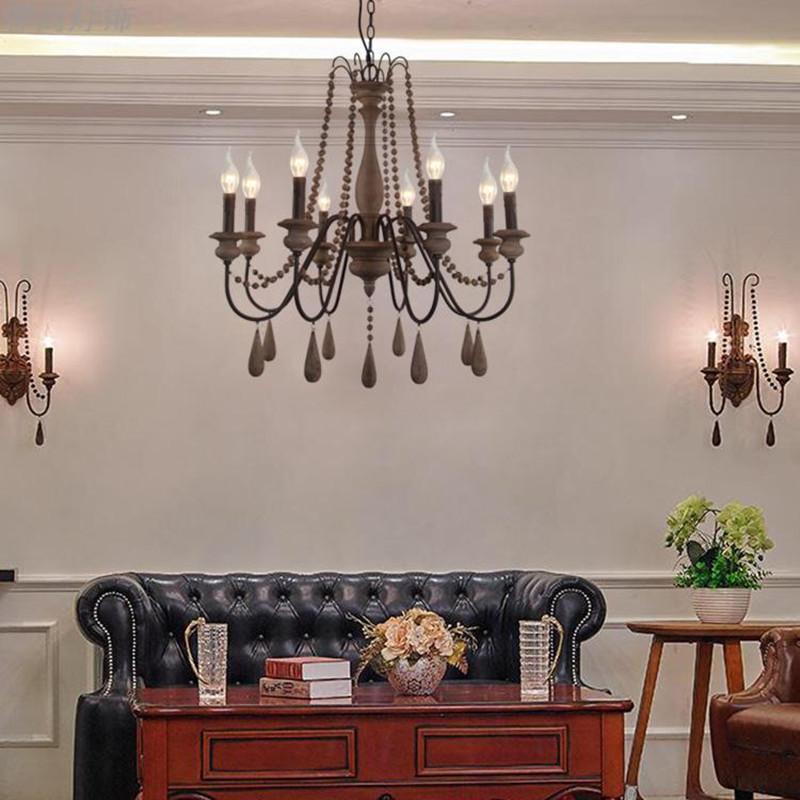 Деревянные железные люстры для гостиной спальня ретро люстры лофт Luster Bois старинные домашние декор светлые светильники