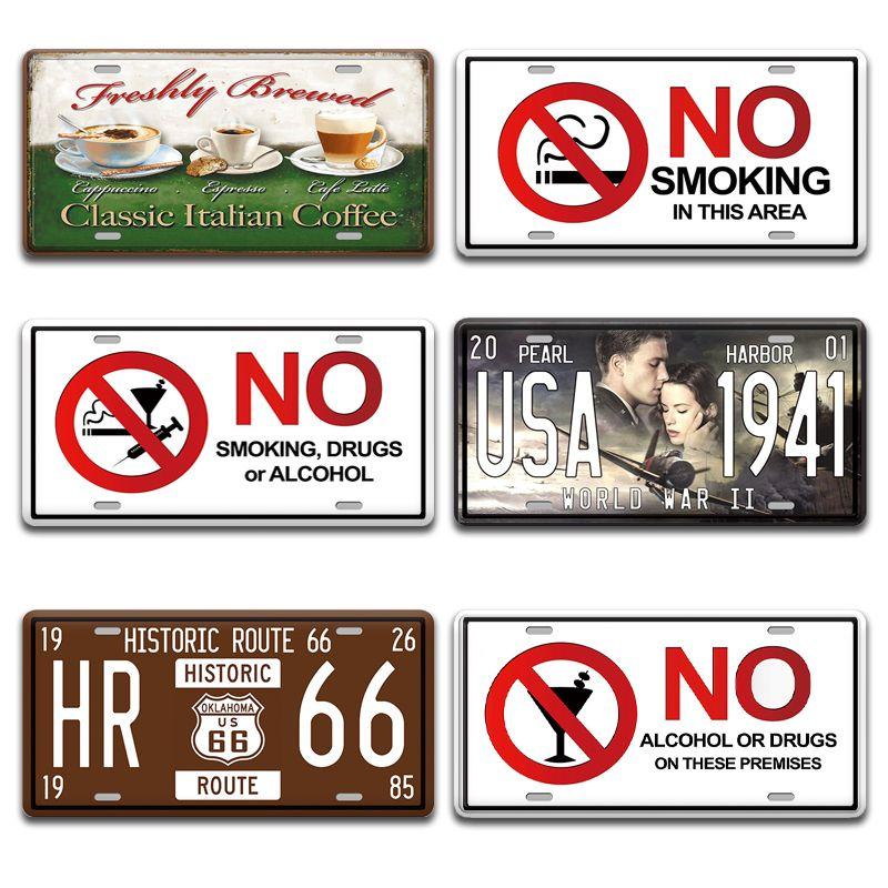 2021 Drôle Non fumeur Signe métallique Vintage Salon Maison Cuisine Cuisine Décor Chic Plaque d'immatriculation Plaque d'im Signes Alcool Mur peinture Panneau de porte
