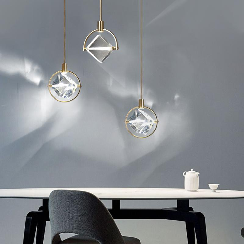 Pendant Lamps Nordic Luxury Bedroom Bedside Bar Restaurant Designer Window Diamond Crystal LED Small Chandelier