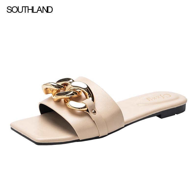 Sandalet Southland Bayanlar Terlik ve Siyah Metal Zincir Dekore Düz Bölünmüş Toe Kadınlar Slaytlar Aynı Tasarım