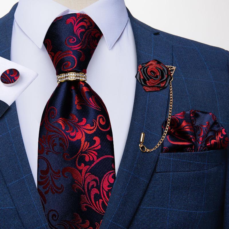 Yay Ties Tasarımcı Mavi Kırmızı Paisley Erkekler için Düğün Parti Boyun Kravat Lüks Yüzük Broş 100% Ipek Set Hediye Damakgu