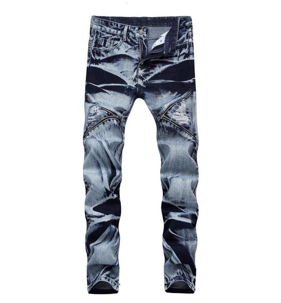 Büyük boy kot Yeni erkek kar kot pantolon zip dikiş delik denim pantolon ince rahat streight bacak kot ücretsiz kargo boyutu 30-42 CJ1887