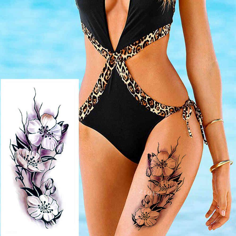 1 Stück Neue Temporäre gefälschte Aufkleber 28 Arten Violetter Blumen Rosa Tattoo für Arm Wasserdichte große Frau am Körperbein