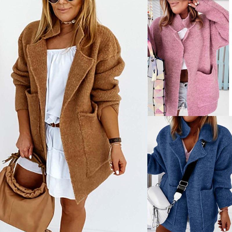 2021 Мода вязаное теплые пальто вскользь женские карманы сплошные свободные кардиганские куртки-створы на улице женская зимняя женская верхняя одежда