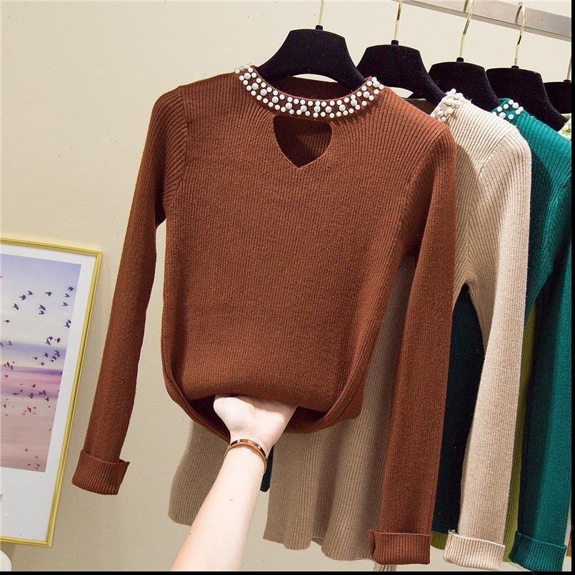 Mujeres Suéteres y jerseys con cuentas Pequeño Puente de invierno Coreano Manga larga Casual Tops Sólidos Ropa de punto Pull Femme Suéteres 191