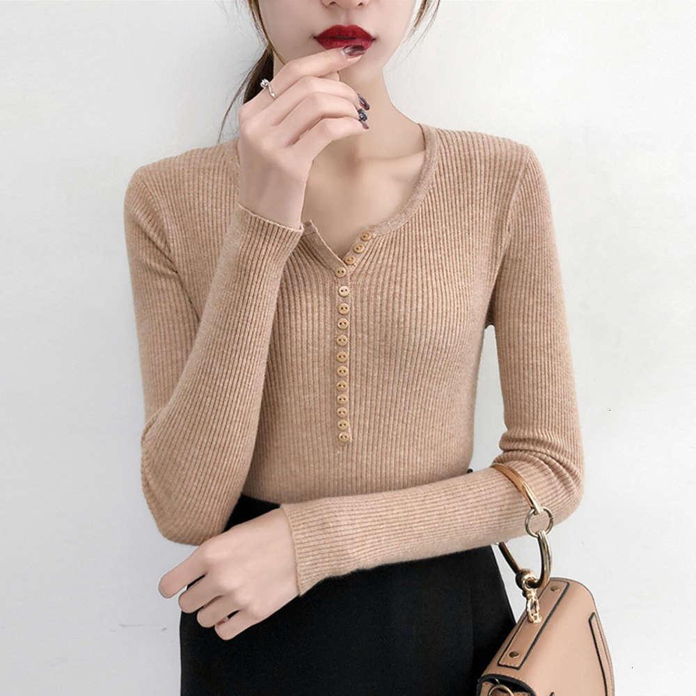2021 New Fashion Korean Women's Maglione con scollo a V con scollo a V con autunno e inverno Knitwear Bottom Coat 6159 # maglione
