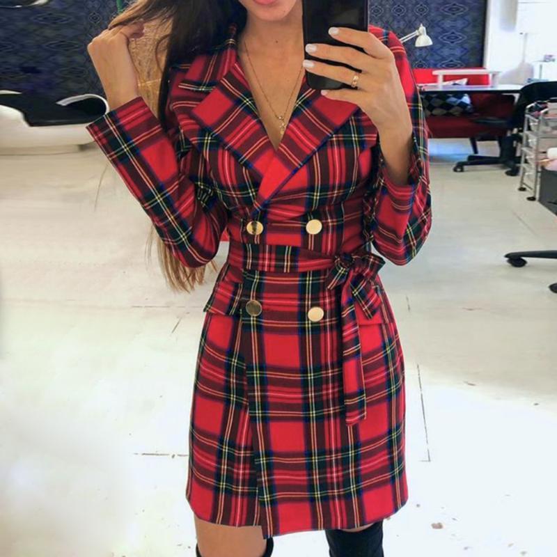 Женская шерстяная смесь корейских красных плед женские пиджаки куртка Пальто повседневных двубортных створок костюм женское 2021 стройное оружие D25
