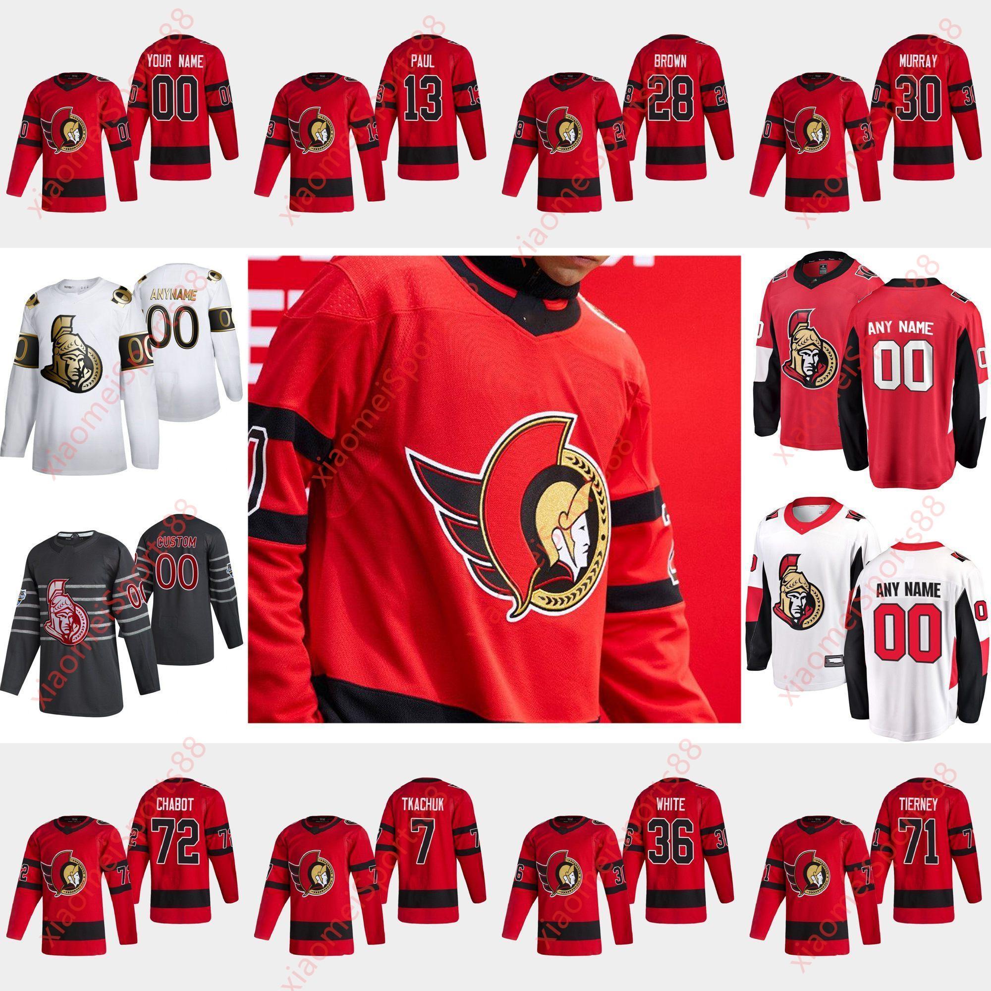 Ottawa Senadores 2021 Retro Retro Hockey Jerseys 72 Thomas Chabot Jersey Brady Tkachuk Bobby Ryan Craig Anderson Colin Blanco Custom Steitche