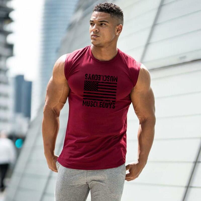 Nouvelle marque Mens Bodybuilding Coton Tapot Top Fitness Sans Manches Chemise Homme Gymnases Vêtements Mode Singulet Vest de muscle Dershirt