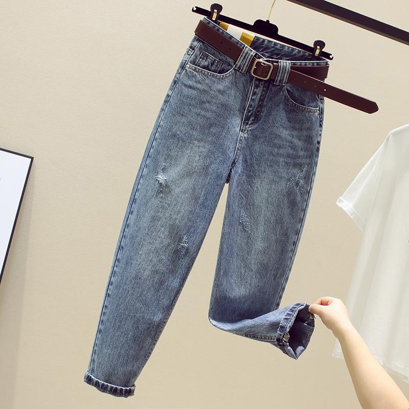 İlkbahar Yaz 2021 Yeni Kore Moda Kadınlar Yüksek Bel Gevşek Yırtık Kot Vintage Mavi Rahat Pamuk Denim Harem Pantolon U1RN
