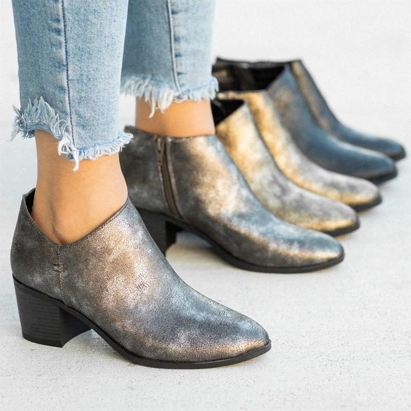 Monerffi Femmes Bottes courtes Bottines Bottines Zipper Solide Couleur Automne Chaussures Chunky Heel Slunky Slund On Femmes Boot Bota Feminina 30ns #