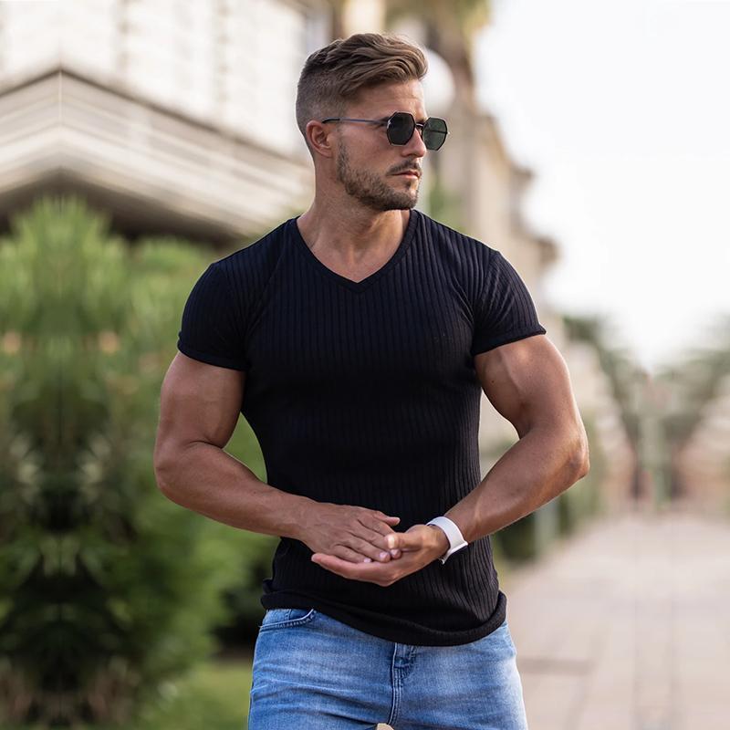 T-shirt da uomo uomo con scollo a manica corta a manica corta T-shirt fitness slim fit nero strisce T-shirt maschile marca gym tees top estate moda moda in maglia clothin
