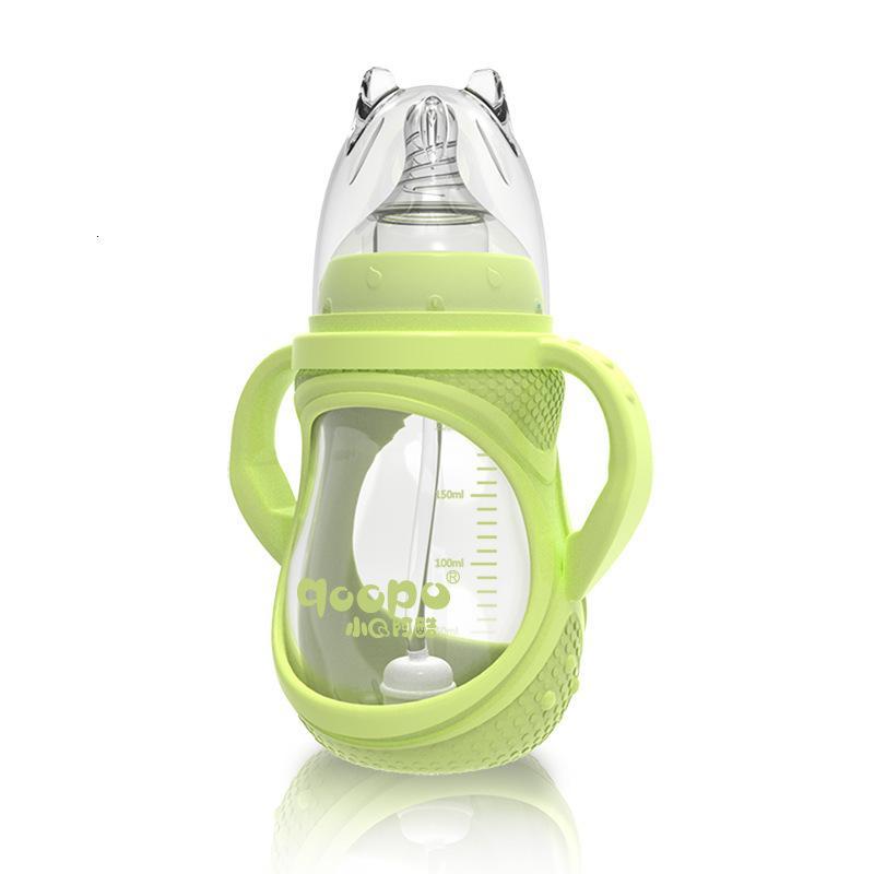 Newborn Baby Sile Широкий калибр Маленькая высокая боросиликатная бутылка с ручкой OEM