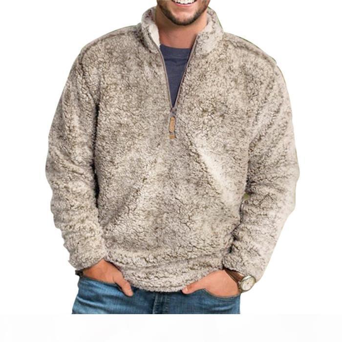Зимние флисовые мужские толстовки сплошные цвета свободно стенд воротник толстые толстовки осень повседневный с длинным рукавом пуловер молния мужчина топы одежда