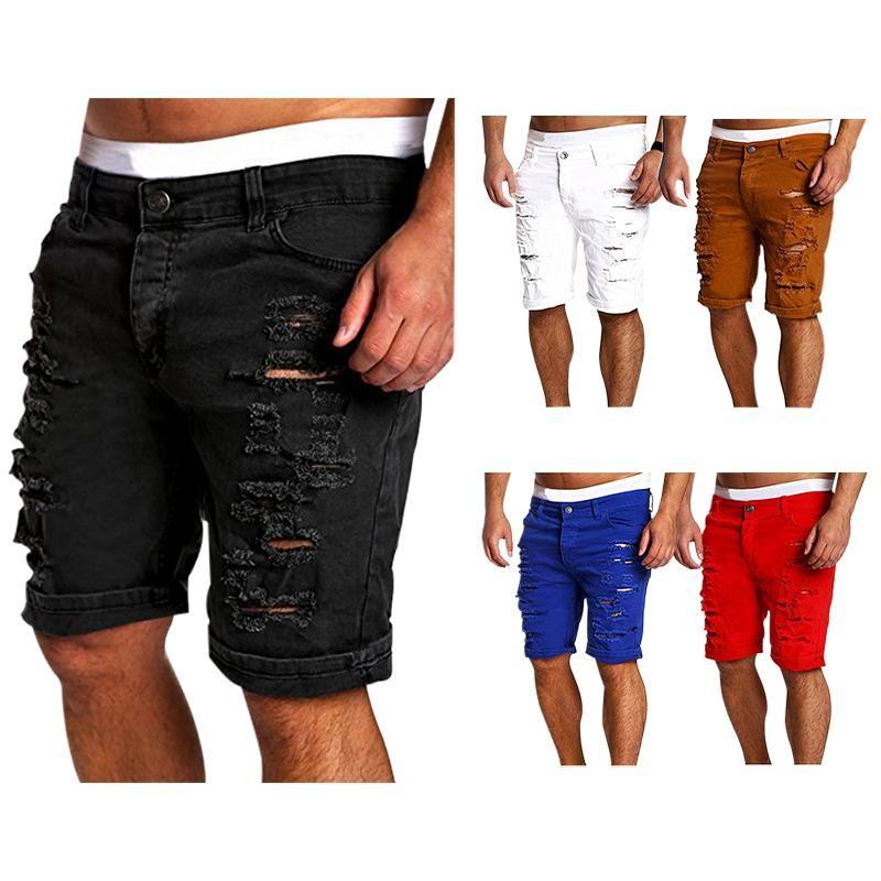 Mens Jeans Acácia Pessoa Nova Moda Mens Rasgado Calças de Jeans Short Marca Roupas Bermudas Summer Shorts Respirável Denim Shorts Masculino