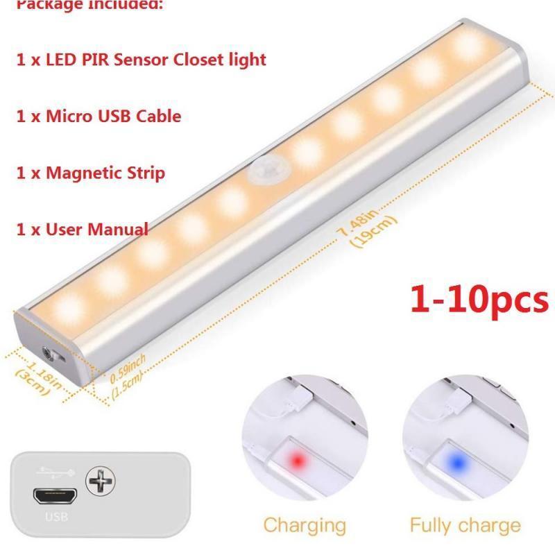 Lampada da parete 10pcs Wireless USB LED Striscia PIR Motion Sensor Sensore notturno luce per armadio armadio armadio all'ingrosso