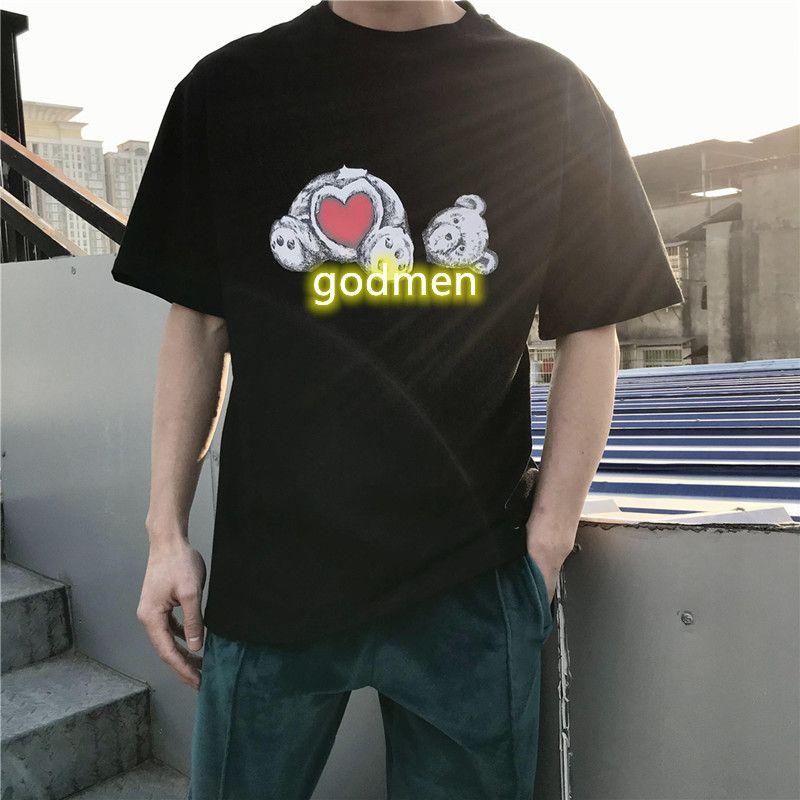 Moda Palm Design Bear Impresso Camisetas Homem Mulher Verão Tees Mens Preto Branco Anjos De Mangas Curtas Pólos Tamanho S-XL