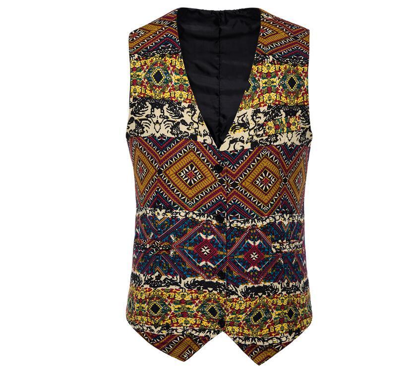 Produttori Direct Commercio straniero Vest da uomo 2021 Nuovo cappotto Gest da uomo Fashion Style National Style Stampato Vest floreale Ampia fornitura