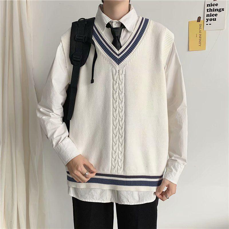 2021 Nova roupa de estilo de faculdade, camisas de cashmere sem mangas camisas brancas colete de malha com clivagem em v camisola de lã M-2XL FPT4