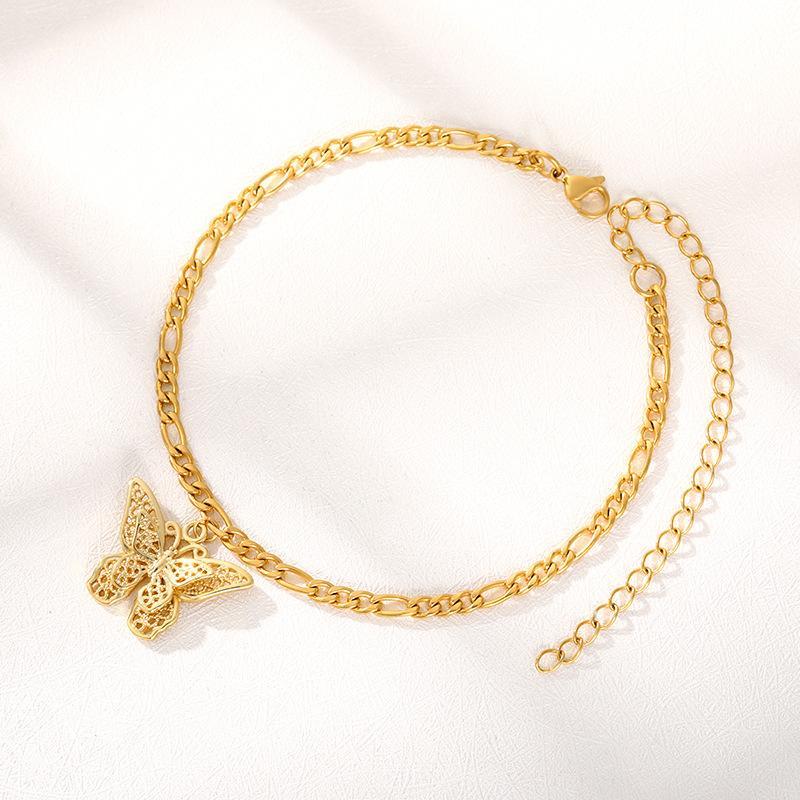 الفولاذ المقاوم للصدأ فراشة سلسلة الإسورة للنساء الرجال 18 كيلو الذهب البوهيمي زوجين مجوهرات 19 ملليمتر * 26 ملليمتر قلادة لطيف الحيوان سحر سوار هدية 2021