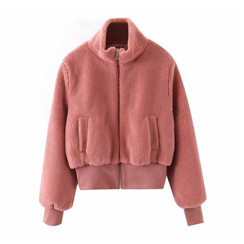 Elegante elegante piel cálida mujeres abrigos cremallera bolsillos chaquetas rojas Outwear Solid Foot Tops