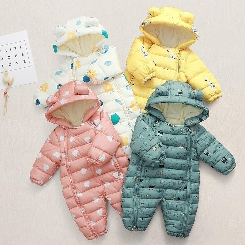 Neugeborene Strampler Winter Baumwolle Mädchen Overall Infant Schneeanzug Schnee Für Jungen Overalls Unisex Baby Kleidung 210309