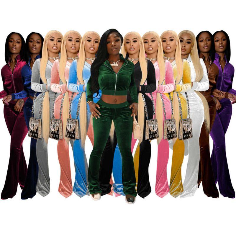 Frauen Trainingsanzüge Zwei Teile Set Designer Outfits Slim Sexy Koreanische Samt Rib Nähte Feste Farbe Reißverschluss Jacke Fackeln Hosen 12 Farben