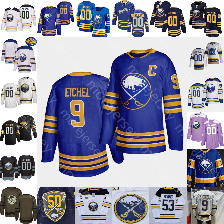 Custom 2021 Buffalo Sabres Buffalo Jersey de hockey sur glace Rasmus Dahlin Jack Eichel Hutton Jeff Skinner Hall Lazar Jake McCabe Jokiharju Eric Staal