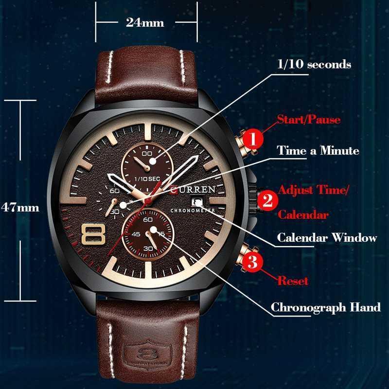 Mens Watches Top Brand Luxury Reloj Curren Men's Army Military Sport Watch Men Casual Leather Quartz Watch Relogio Masculino Q0524