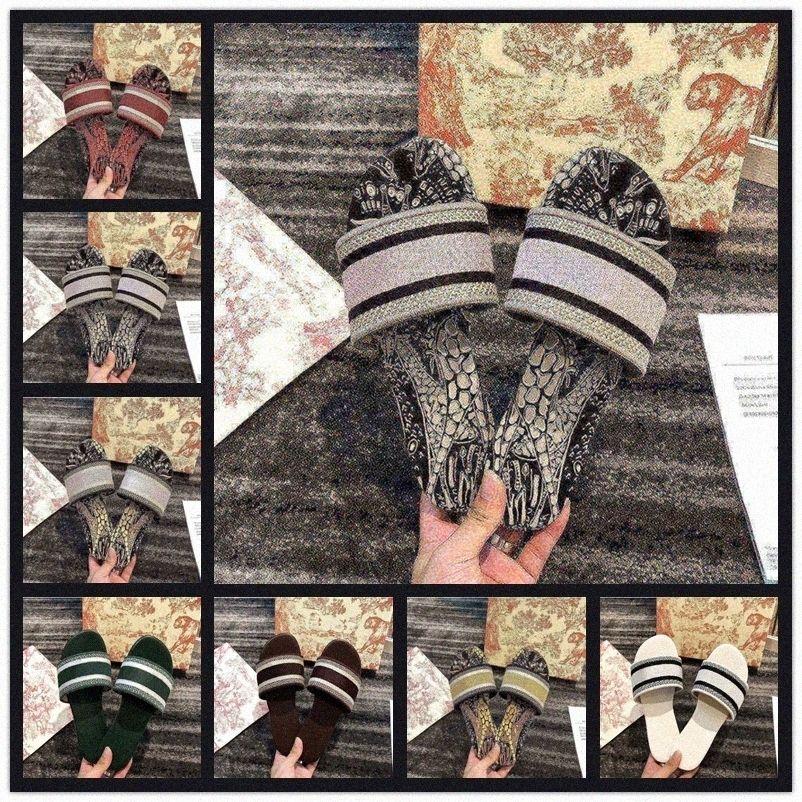 أزياء موضة الشرائح النساء شبشب عمارة القطن مطرز القطن الصنادل الصيف المرأة الأحذية في الهواء الطلق الصدرية الشرائح الصنادل 35-413N4S #