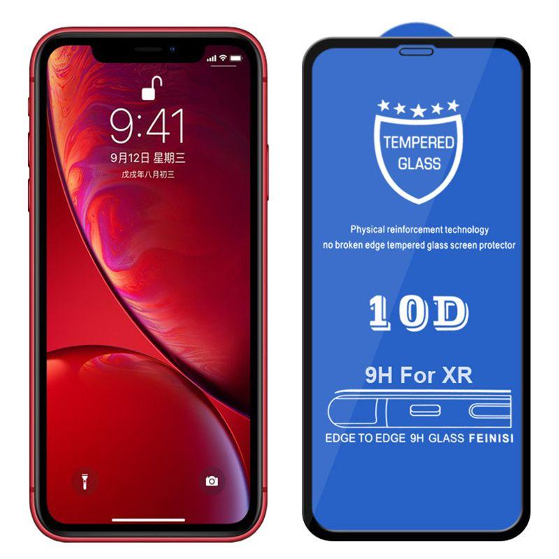 10D Harted Glass Screen Protector Real 9H Premium Pełna pokrywa pokrywy kleju Zakrzywiony Film dla iPhone 13 Pro Max 12 mini 11 XS XR X 8 7 6 6S PLUS SE