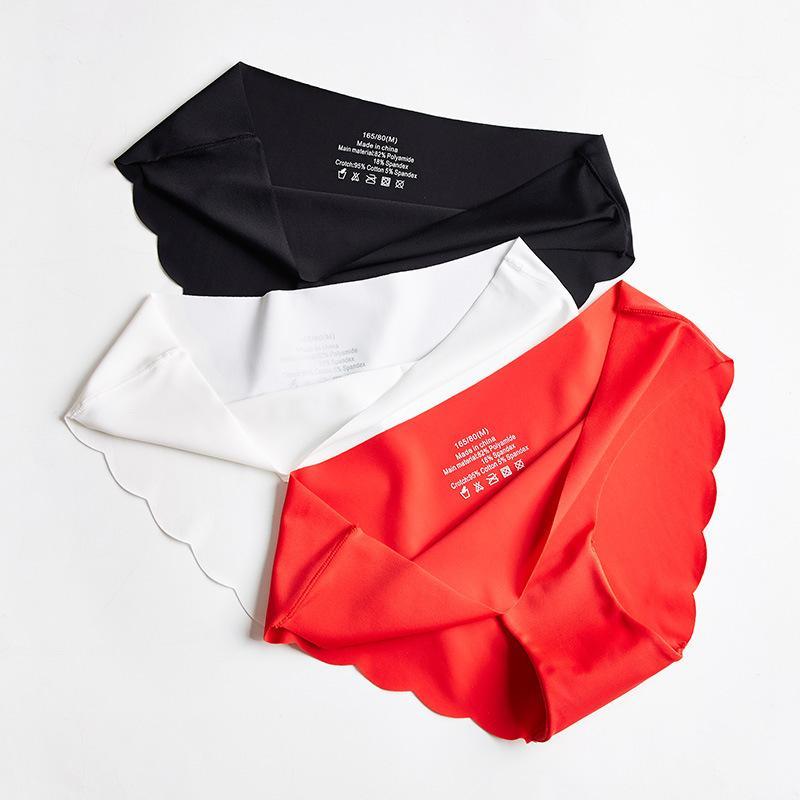 Plus size Low Cintura de gelo seda sem costura underwear lingerie mulheres fina respirável onda padrão senhoras cuecas femininas calcinha j0225