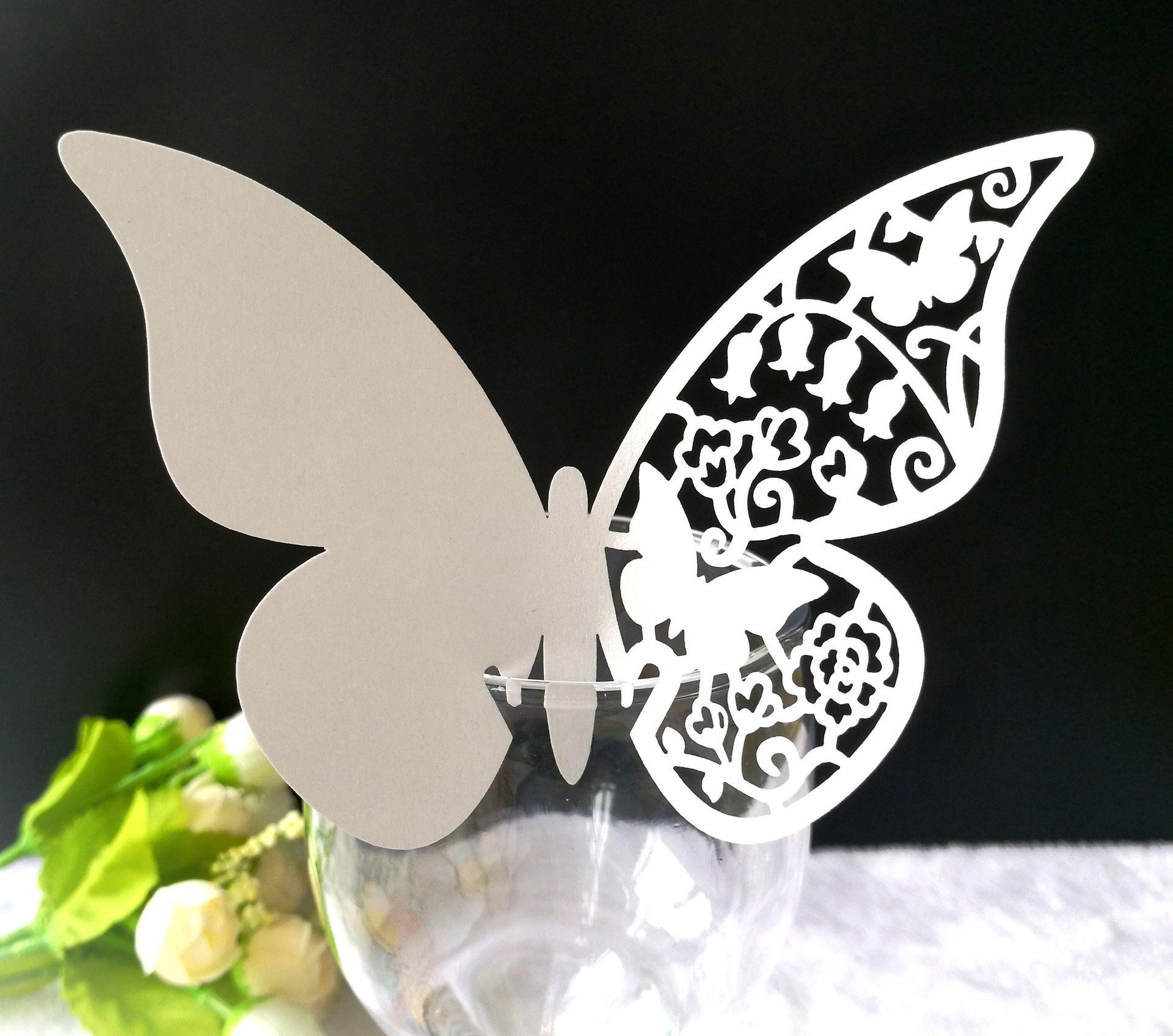 Laser-Schnitt-Place-Karten mit Schmetterlings-Papierschneidnamen-Karten für Party-Platzkarten Hochzeitsdekorationen PC1002
