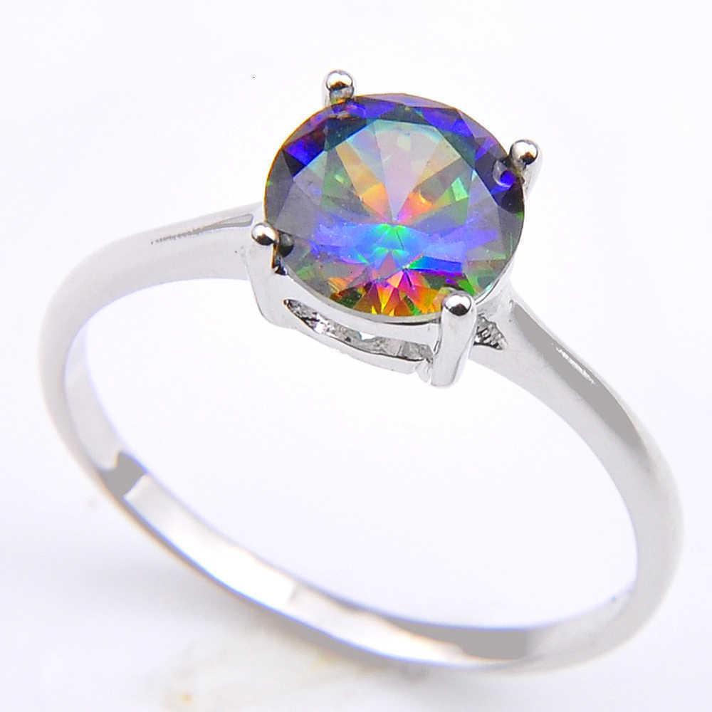 Винтаж 925 стерлингового серебристого серебристой королевы причудливые природные мистические топаз круглые драгоценные камни ювелирные изделия австрийское хрустальное обручальное кольцо для влюбленных CR0471