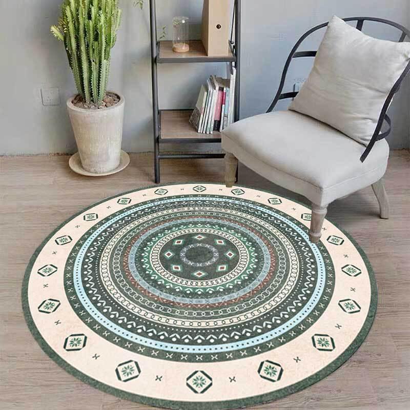 Alfombras de moda círculo geométrico fresco estilo étnico sala de estar dormitorio colgando canasta silla colmo colmofada alfombra
