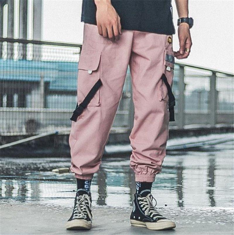Hiphop Mens дизайнерские брюки повседневные мульти карманные вышивка грузовые брюки длинные брюки Новый уличный стиль мужской панталон