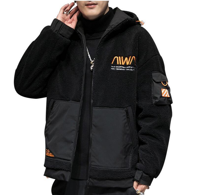2021新しい刺繍冬コートコットンメンズ厚いフリース韓国のカジュアルルーズフード付きジャケット学生ジャケットコート