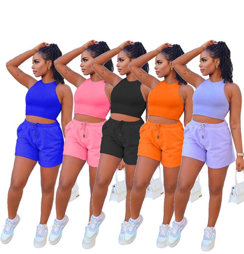 النساء مثير رياضية قطعتين مجموعة قمم المحاصيل السراويل القصيرة الركض البدلة الصيف عارضة الملابس الصلبة تانك الأعلى السراويل الرياضية 5008