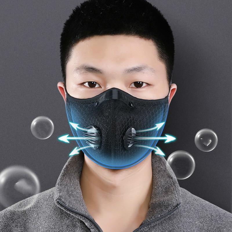 Masque 2020 poussière / à gaz micro avec couvercle de poussière, masque de cyclisme Protection de smog extérieure pour hommes et femmes masque de respirateur réglable