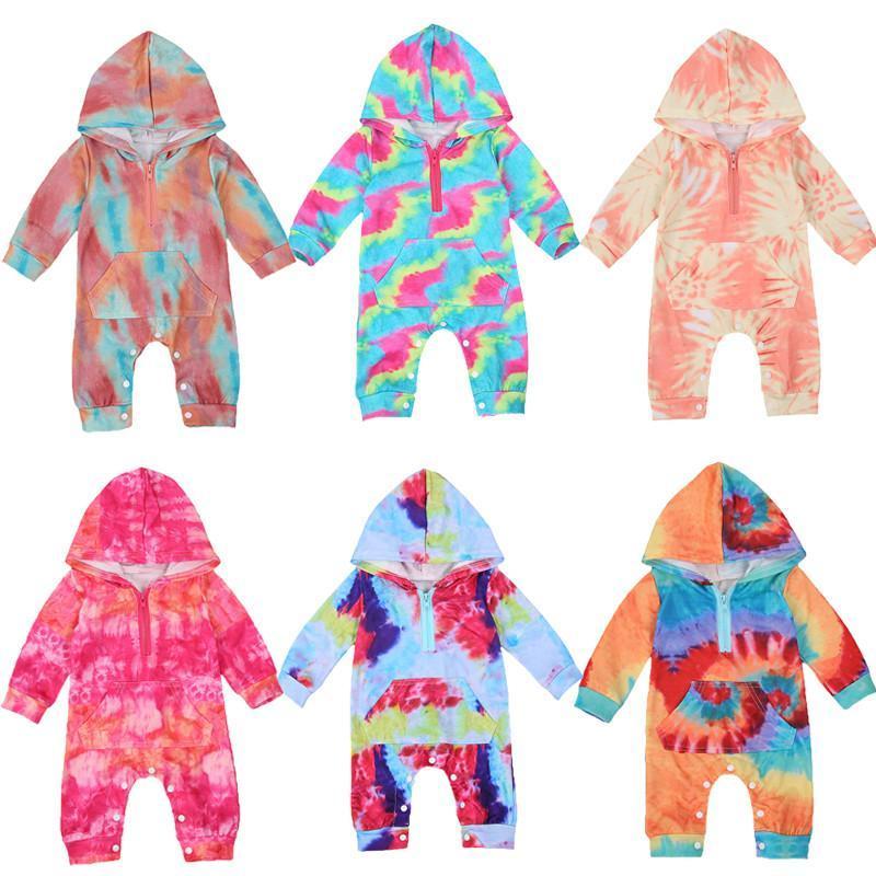 0-24 месяцев Baby Cooked ползунка галстук-краска узор на молнии закрытие ребристым закрытием весенние осенние комбинезоны малыши девушки мальчики одежда