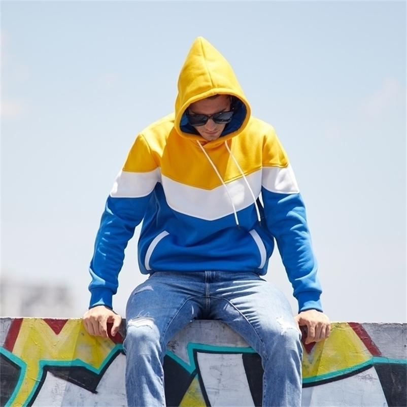 Лоскутная твердая мужчина Hiphop зимняя базовая толстовка свободных повседневных толстовок мужской стиль повседневной казни Harajuku мужская блузка толстовка 201128