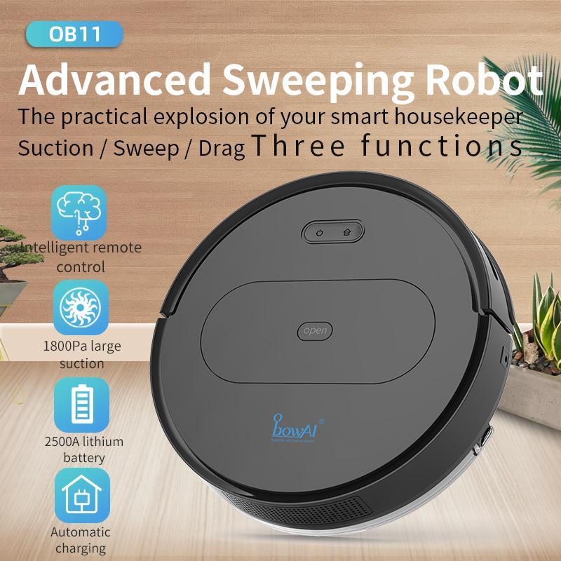 Obowai OB11 2020 DÉVELUT 1800PA Robot Aspirateur APP Approvisionnement Télécommande Robotique sans fil RoboT Auto Recharge Smart Planning Balayer