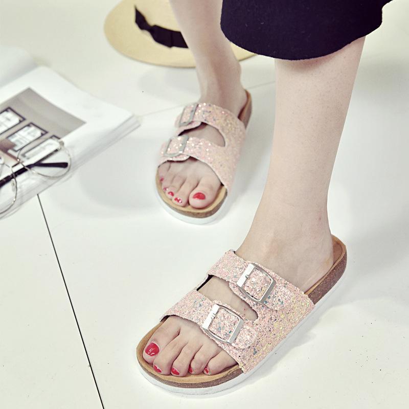 2021 NUEVO Tendencia de verano Flash Sequin Doble Hebilla Corcho Mujeres Zapatillas de moda Sandalias Zapatos 1T1M