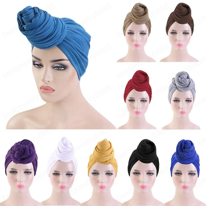 Kadın Türban Şapka Bohemian Tarzı Jersey Kafa Wrap Düğüm Türban Afrika Büküm Headwrap Bayanlar Saç Aksesuarları Hindistan Şapka Kemo Kap