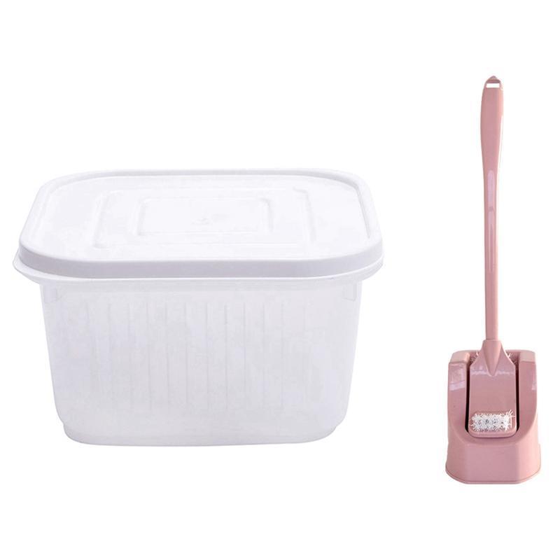 Storage Bottles & Jars 5Pcs Fresh Box Refrigerator Fruit And Vegetable 1x Double-Sided Toilet Brush With Bracket