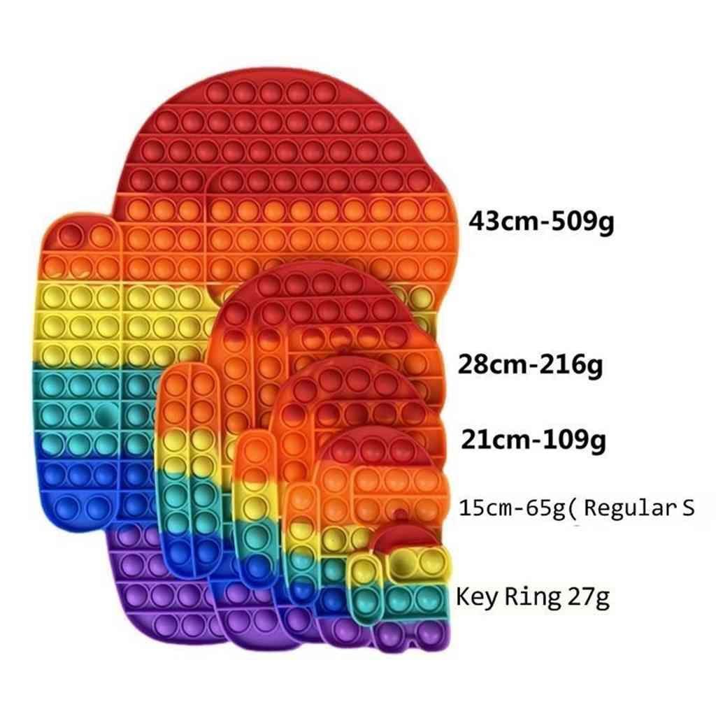 46 cm 43 cm 28 cm 20 cm Gökkuşağı Push Pop Kabarcık Popper Fidget Sensory Oyuncaklar Büyük Boy Mega Parmak Bulmaca Otizm Özel İhtiyaçlar Stres Rölyef Eğitici Oyuncak G612hou
