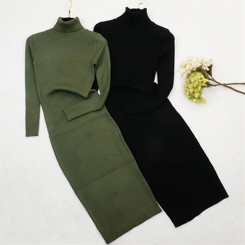 Frauen Rollkragenpullover Kleid Herbst Winter Langarm Slim Bodycon Es Damen Mode gestrickt Vestidos Mujer 210602
