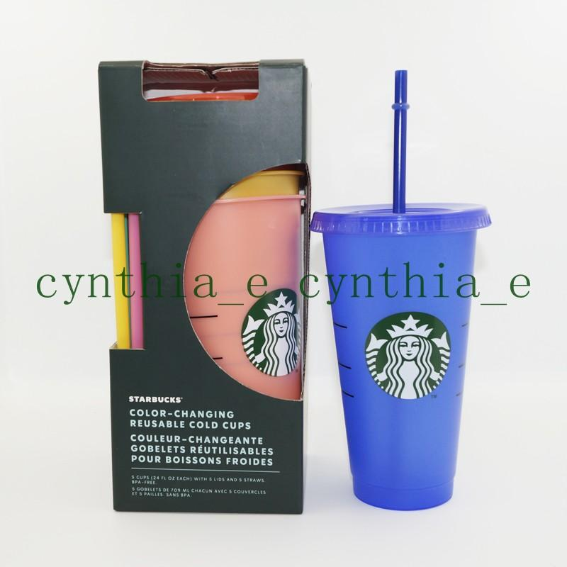 24OZ/710ml Starbucks Color Change Plastic Tumbler Reusable Clear Drinking Flat Bottom Cup Pillar Shape Lid Straw Mug Bardian