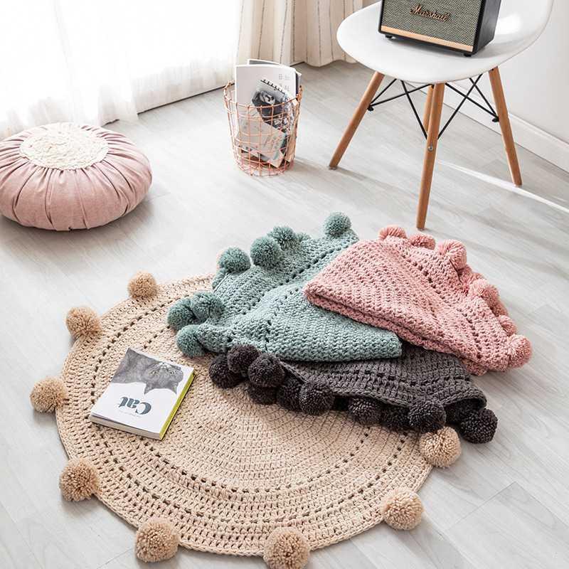 Tappeti Boussac in intreccio a mano intrecciata a mano tappeto tappeto tappetini per bambini Camera da letto per bambini Camera da letto Soggiorno Bay Window Sofà Tappeto coperta decorativa